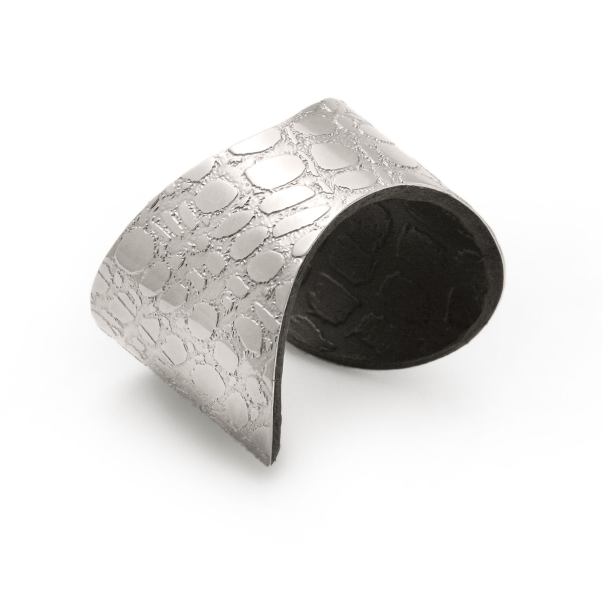 Skin Textured Silver & Black Etched Cuff (Slim) - Sara Gunn - product images  of