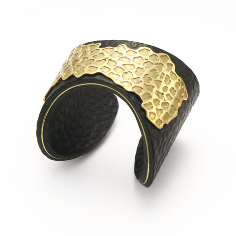 Black,and,Gold,'Skin',Overlay,Cuff,-,Sara,Gunn,Sara Gunn, Leather Cuff, luxury fashion jewellery, luxury fashion, custom made jewellery, sara gunn jewellery, etched, textured cuff,