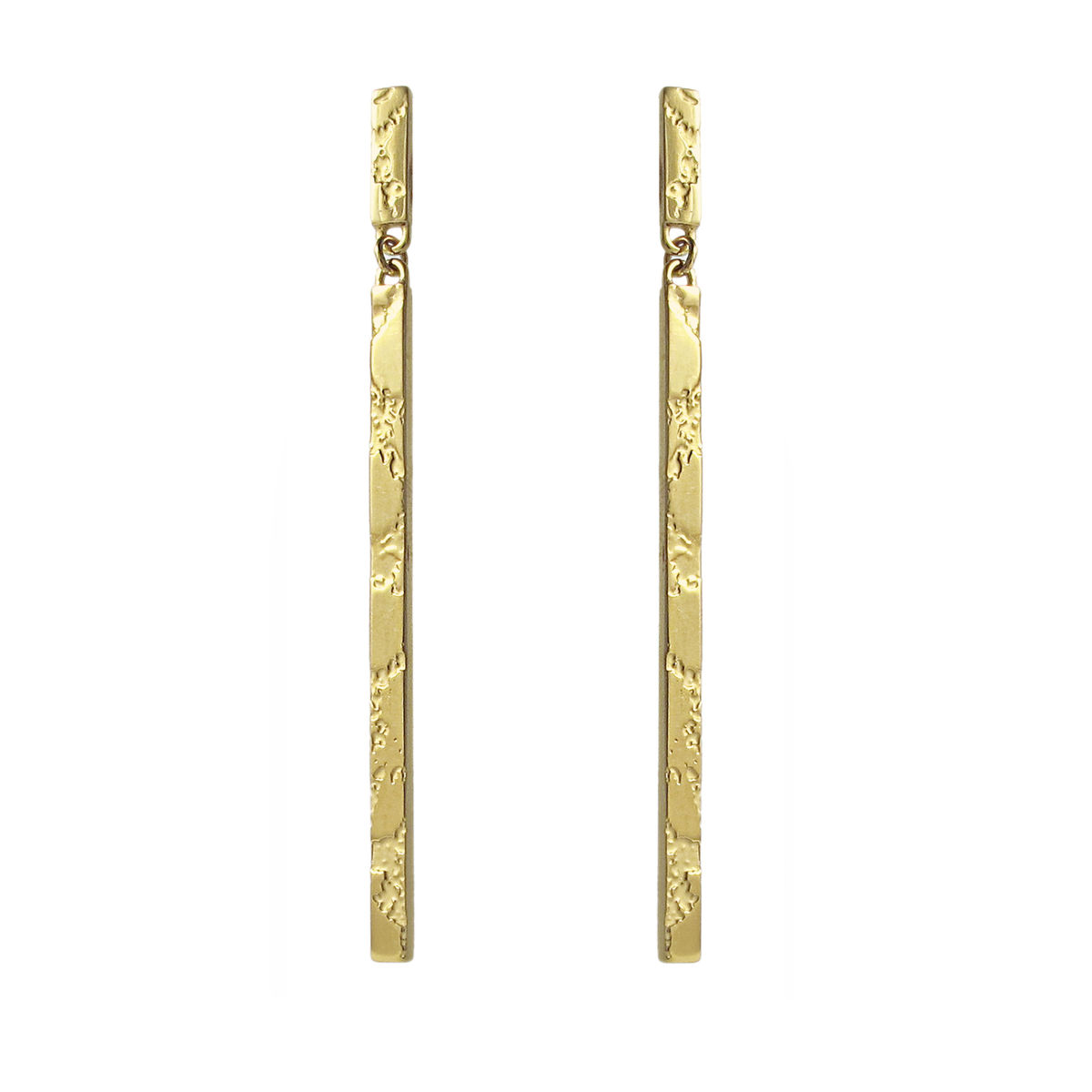 Skin Textured Drop Earrings Gold Plated Silver