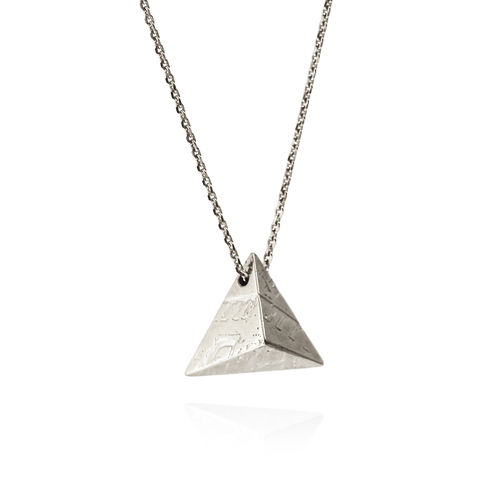 Double-sided,SOUVENIR,pyramid,pendant,LGE,-,sterling,silver,Sara Gunn jewellery, london souvenir jewellery, necklace, pendant, silver, etched, chain, sterling silver, etched jewellery, photograph
