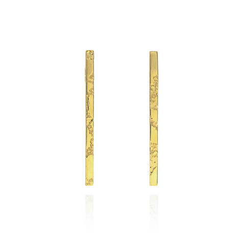 SKIN,textured,straight,bar,earrings,-,gold,plated,silver, sterling silver, gold, bar earrings, skin, textured, straight earrings, etched