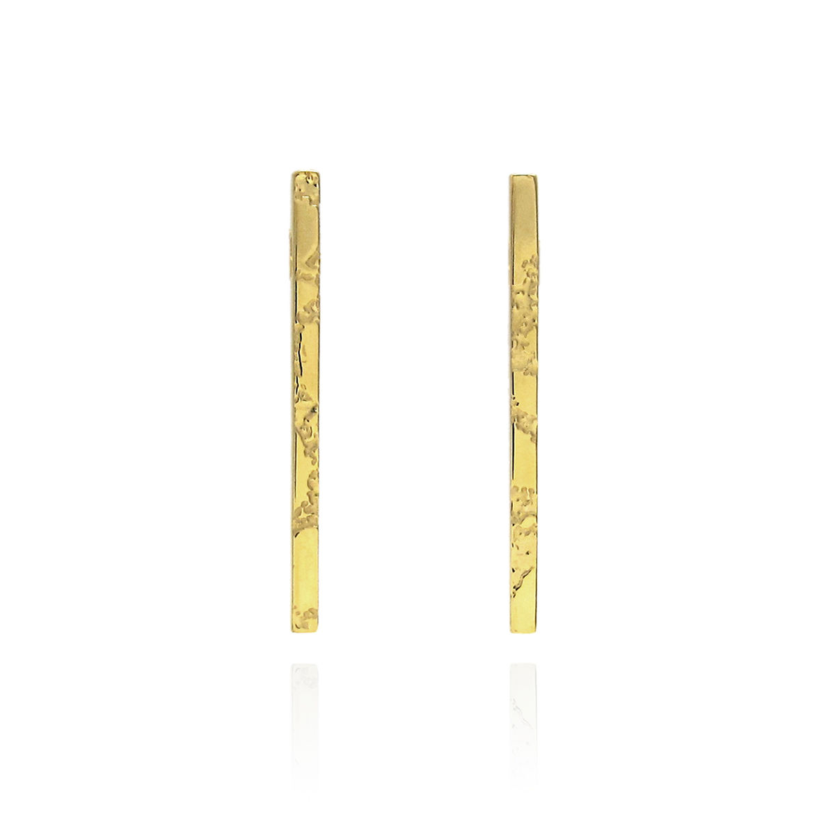 SKIN textured straight bar earrings - gold plated silver - product image