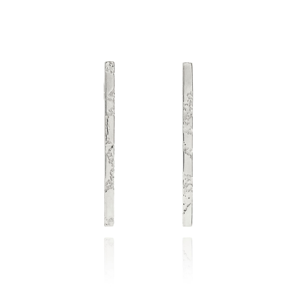 SKIN textured straight bar earrings - sterling silver - product image