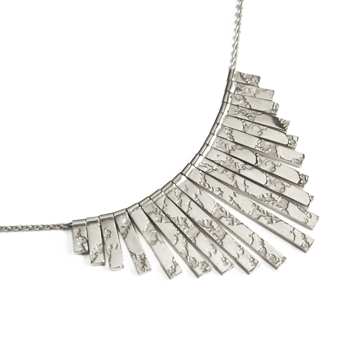 SKIN textured fringed necklace - sterling silver - product image