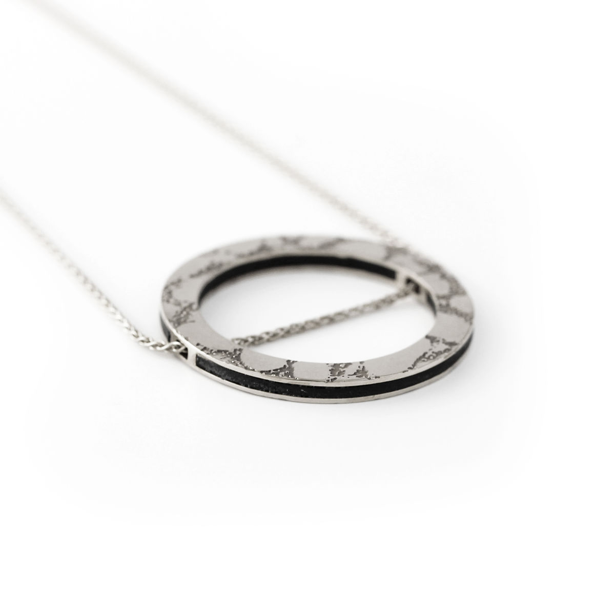 SKIN textured circle slider pendant - silver & black - product images  of