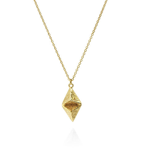 SOUVENIR,double,pyramid,pendant,MED,-,gold,plated,silver,Sara Gunn jewellery, london souvenir jewellery, necklace, pendant, gold, etched, chain, sterling silver, etched jewellery,