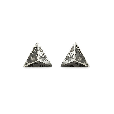 Medium,SOUVENIR,Pyramid,Stud,Earrings,Souvenir, earrings, studs, stud earrings, pyramid, London, silver, sterling silver, oxidised silver, handmade