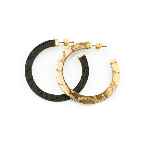 SKIN,textured,hoop,earrings,-,gold,and,black,hoop earrings, gold hoop earrings, textured hoop earrings, leather hoop earrings, gold and black jewellery, gold and black earrings, lightweight hoop earrings, handmade,