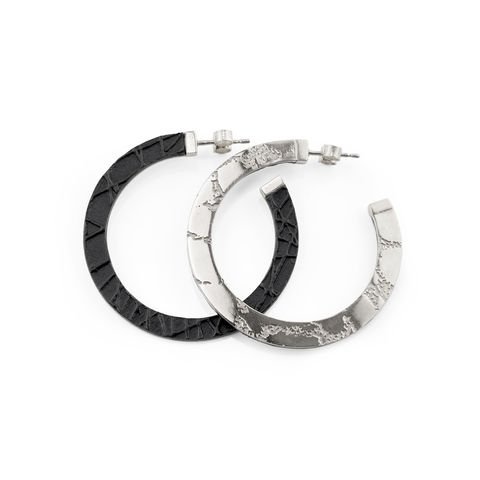 SKIN,textured,hoop,earrings,-,silver,and,black,hoop earrings, gold hoop earrings, textured hoop earrings, leather hoop earrings, silver and black jewellery, silver and black earrings, lightweight hoop earrings, handmade,