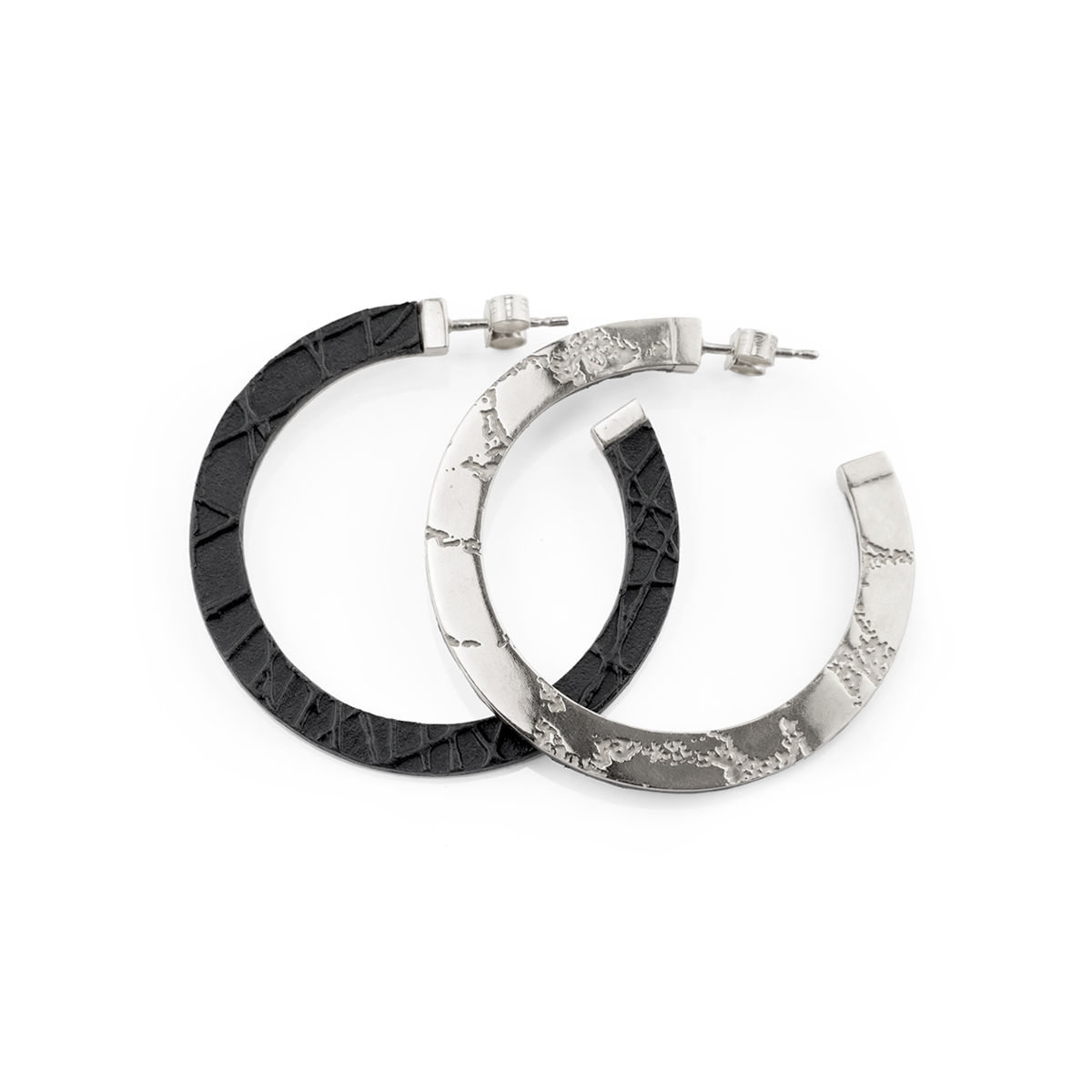 SKIN textured hoop earrings - silver and black - product images  of
