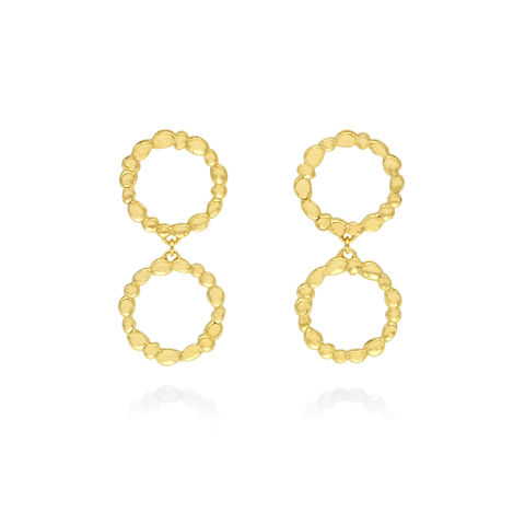 SHIMMER,circle,drop,earrings,-,gold,plated,sterling,silver,gold drop earrings, drop earrings, circle earrings, gold, organic, demi-fine jewellery
