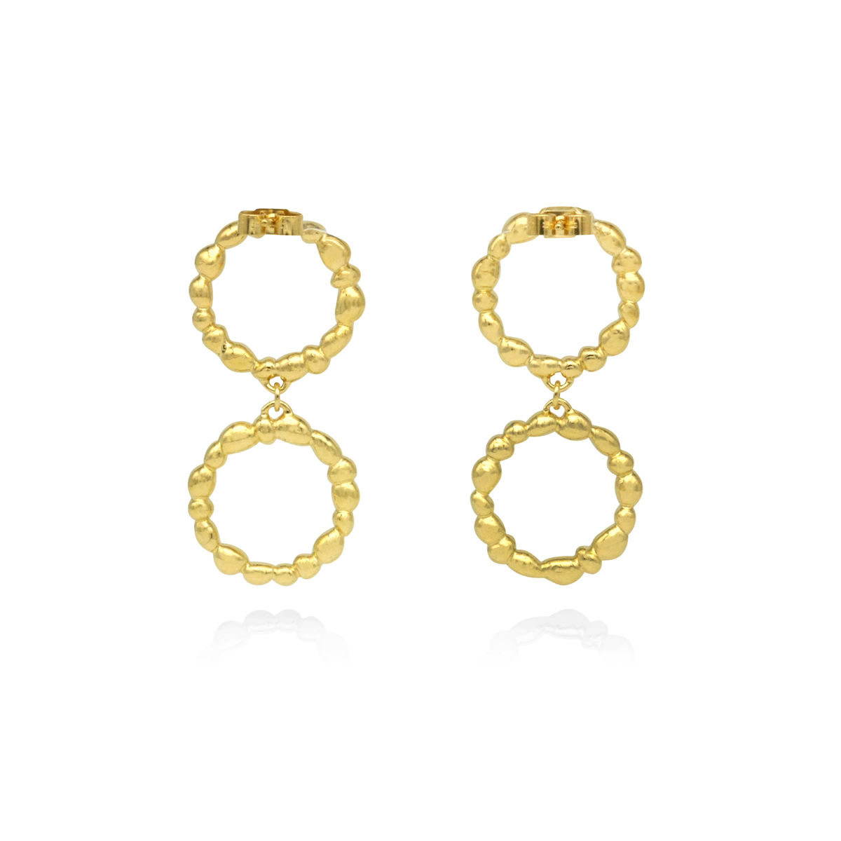 SHIMMER circle drop earrings - gold plated sterling silver - product images  of