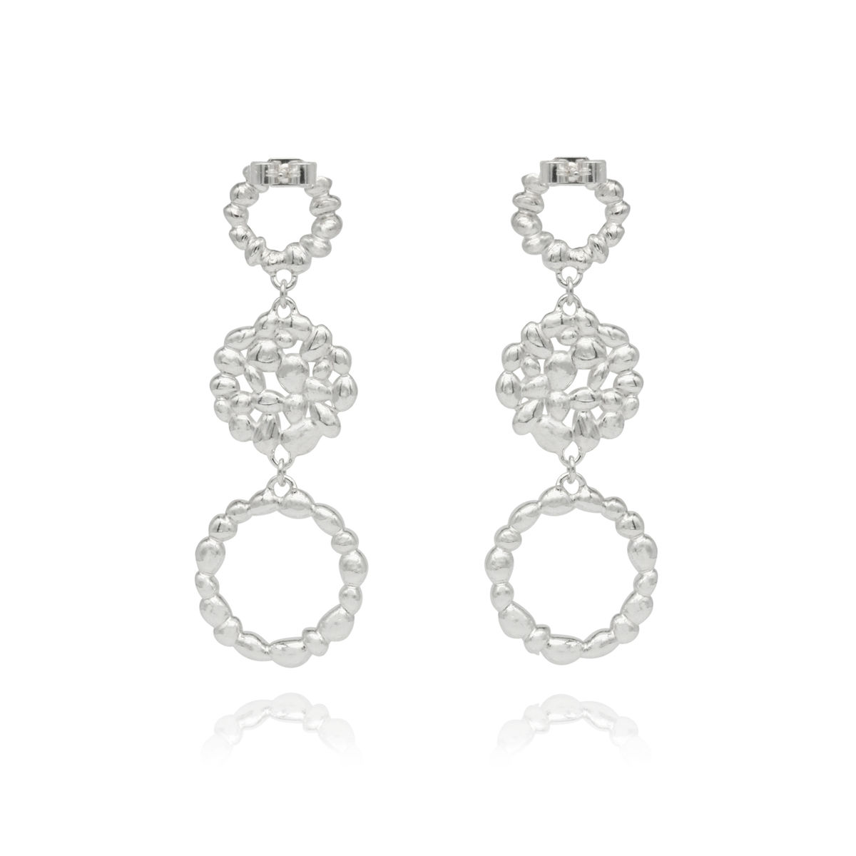 SHIMMER triple drop earrings - sterling silver - product images  of