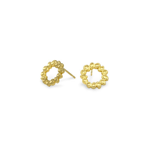 SHIMMER,mini,circle,stud,earrings,-,gold,plated,sterling,silver,gold stud earrings, stud earrings, circle earrings, gold, organic, demi-fine jewellery, sterling silver, studs