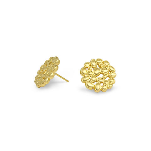 SHIMMER,Array,stud,earrings,-,gold,plated,sterling,silver,gold stud earrings, stud earrings, circle earrings, gold, organic, demi-fine jewellery, sterling silver, studs