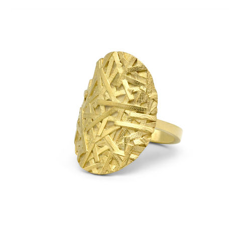 MERGE,Large,oval,ring,-,gold-plated,sterling,silver,Sara Gunn, ring, textured ring, statement ring, fashion jewellery, designer fashion jewellery, custom made jewellery, modern textured ring