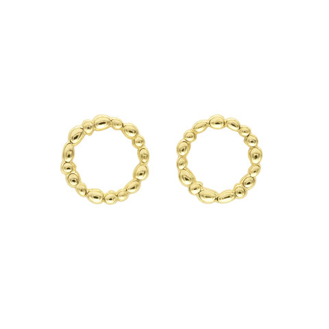 SHIMMER,circle,stud,earrings,-,gold,plated,sterling,silver,gold stud earrings, stud earrings, circle earrings, gold, organic, demi-fine jewellery, sterling silver, studs