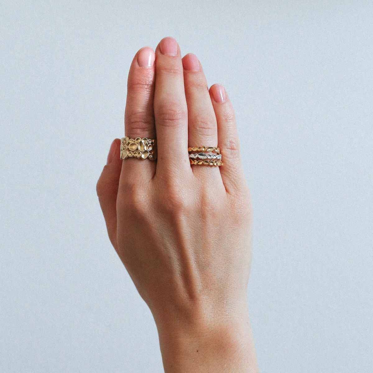 SHIMMER textured wide ring - gold plated sterling silver - product images  of