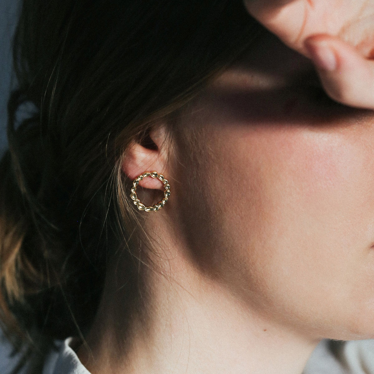 SHIMMER circle stud earrings - gold plated sterling silver - product images  of