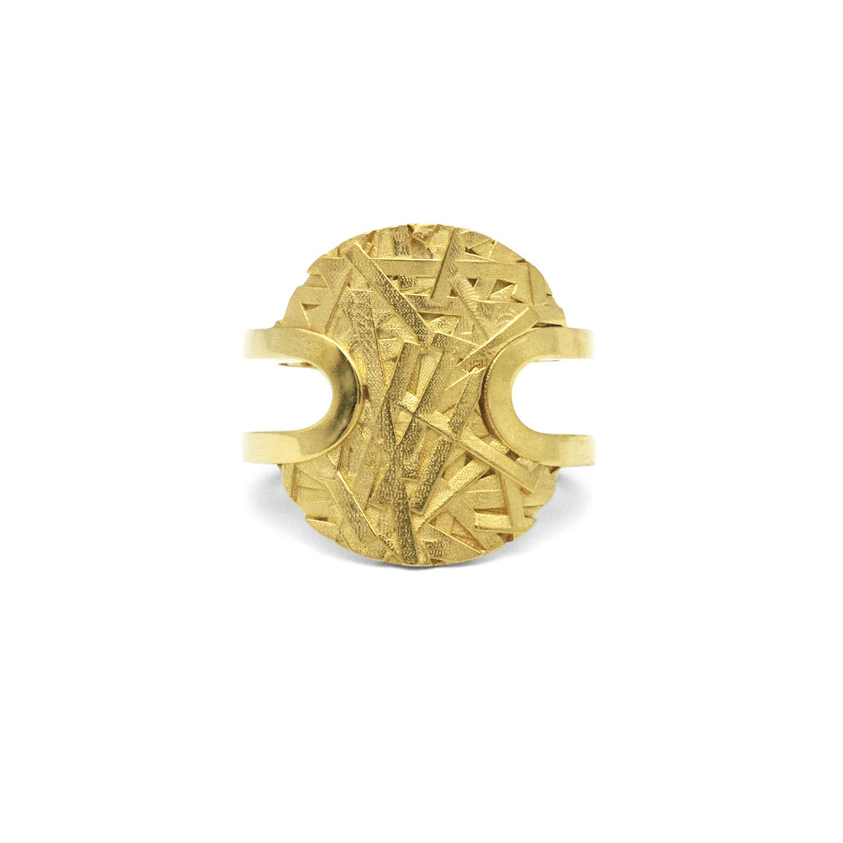 MERGE textured open ring - gold-plated sterling silver - product images  of