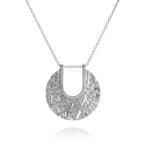 MERGE,textured,disc,pendant,-,sterling,silver,Sara Gunn, pendant, textured pendant, necklace, textured necklace, statement pendant, disc pendant, medallion, demi-fine, demi-fine jewellery, fashion jewellery, designer fashion jewellery, custom made jewellery, modern textured jewellery