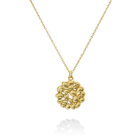 SHIMMER,Array,circle,pendant,-,gold,plated,sterling,silver, textured pendant, circle pendant, gold plated, organic, demi-fine jewellery, sterling silver,