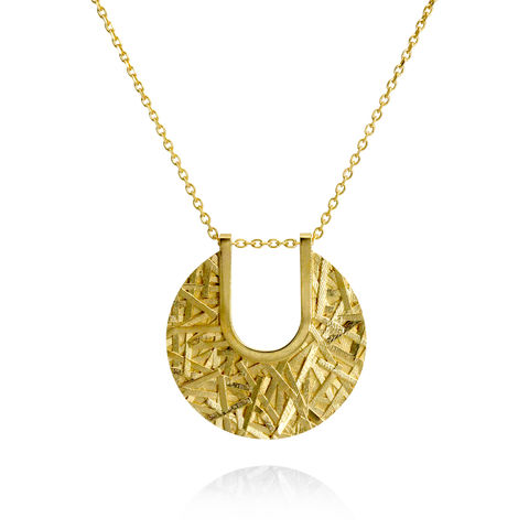 MERGE,textured,disc,pendant,-,gold-plated,sterling,silver,Sara Gunn, pendant, textured pendant, necklace, textured necklace, statement pendant, disc pendant, medallion, demi-fine, demi-fine jewellery, fashion jewellery, designer fashion jewellery, custom made jewellery, modern textured jewellery