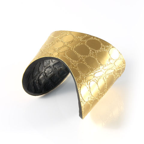 Gold,&,Black,Etched,Metal,and,Leather,'Skin',Cuff,-,Sara,Gunn,Sara Gunn, Leather Cuff, luxury fashion jewellery, luxury fashion, custom made jewellery