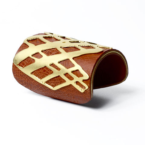 Tan,'Skin',Cuff,Embossed,Leather,with,Gold,line,overlay,-,Sara,Gunn,Sara Gunn, leather cuff, luxury fashion jewellery, custom made jewellery, leather jewellery
