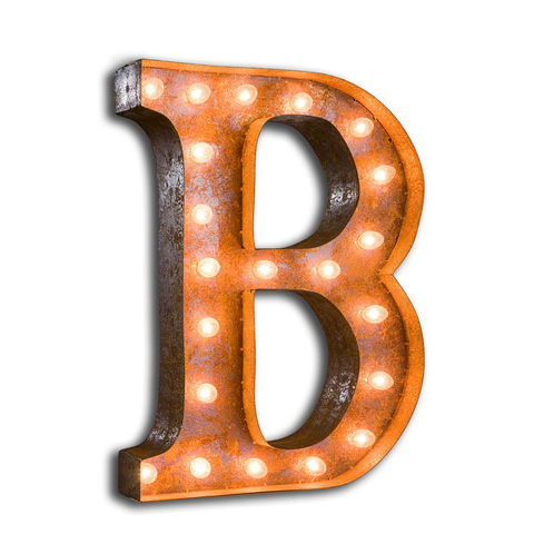 Letter,Light,B,Large Metal Vintage Letter Lights reclaimed industrial