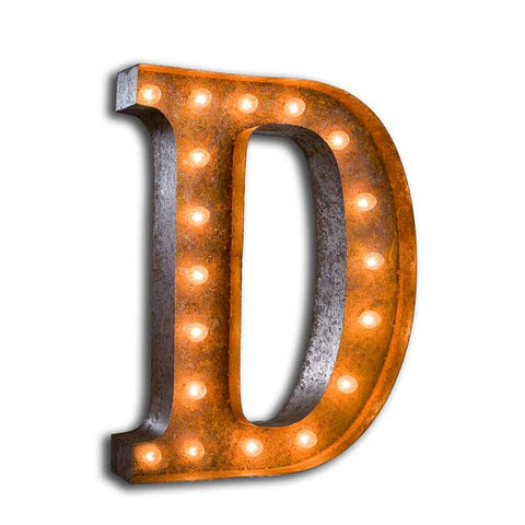 Letter,Light,D,Large Metal Vintage Letter Lights
