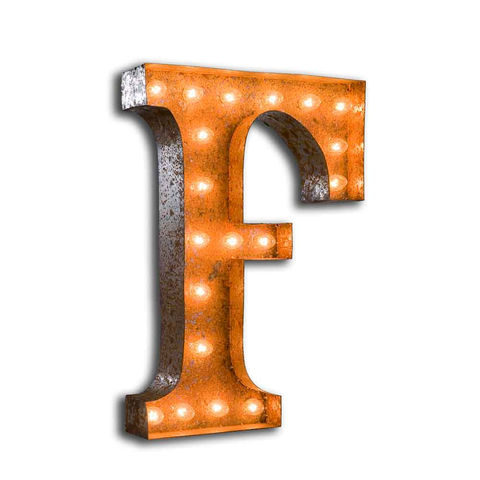 Letter,Light,F,Letter Lights industrial Large Metal Vintage
