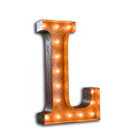 Letter,Light,L,Large Metal Vintage Letter Lights industrial