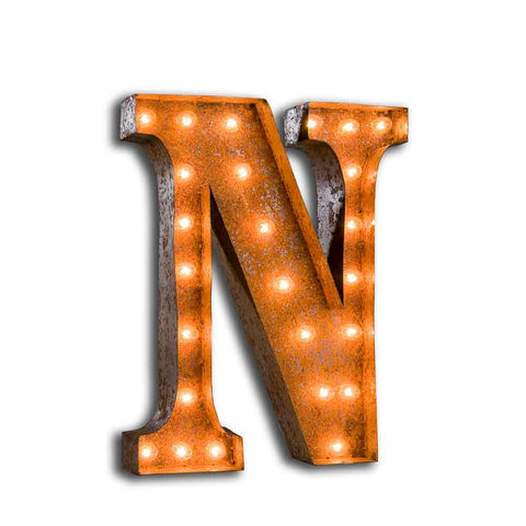 Letter,Light,N,Large Metal Vintage Letter Lights industrial
