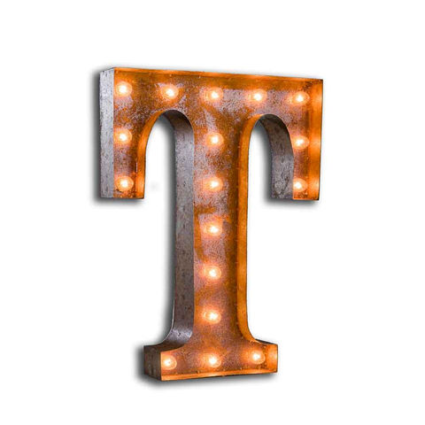 Letter,Light,T,Letter Lights Large Metal Vintage industrial
