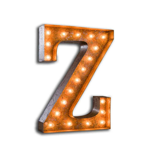 Letter,Light,Z,Letter Lights Z industrial Large Metal Vintage