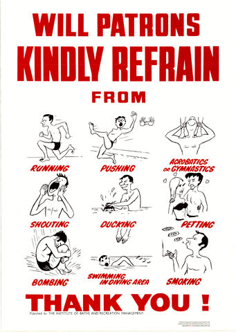 Vintage,Swimming,Pool,Rules,Poster,Will Patrons kindly Refrain from Vintage Rules Poster Print