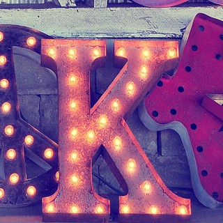 Letter,Light,K,Vintage Letter Lights Metal