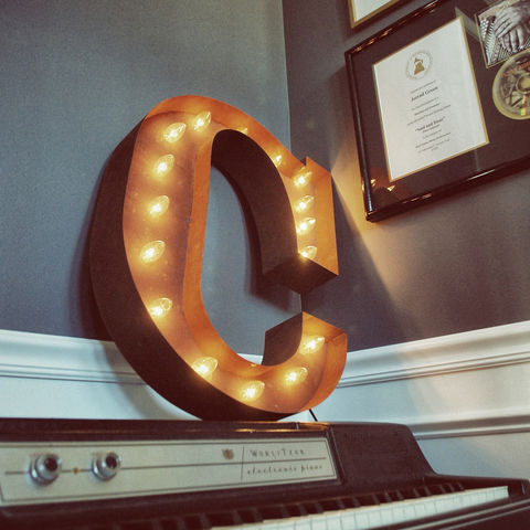 Letter,Light,C,Large Metal Vintage Letter Lights industrial