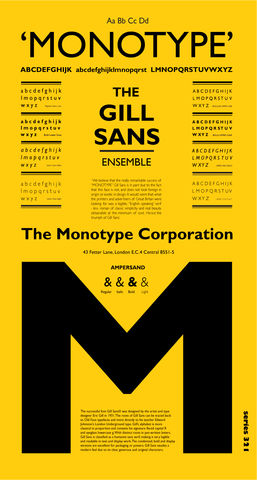 The,Gill,Sans,Ensemble,(mustard),Typographic Art Print The Gill Sans Ensemble