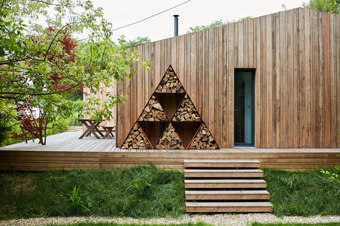 Triangular,Log,Pods,Log Pods, Metal Log Store, Rusty log store, Contemporary storage.