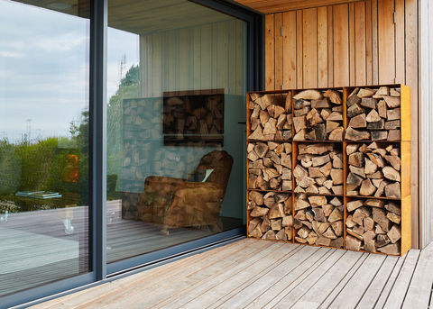 Square,Modular,Log,Pods,Log Pods, Metal Log Store, Rusty log store, Contemporary storage. Modular Storage