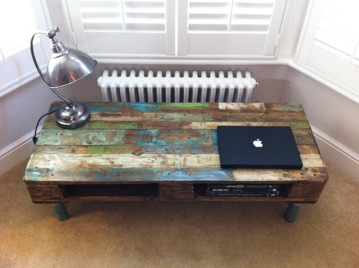 Pallet Coffee Table With Reclaimed Steel Legs