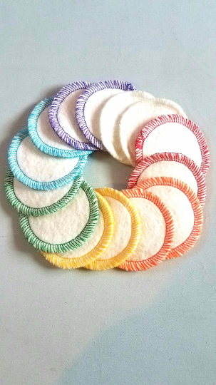 14 mini hemp organic cotton makeup remover rounds - RAINBOW - zero waste - reusable - product images  of