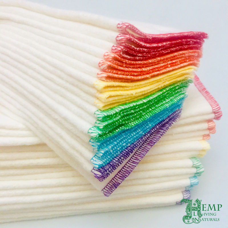 6/12 reusable washcloths - baby wipes - natural - hemp - rainbow - product images  of