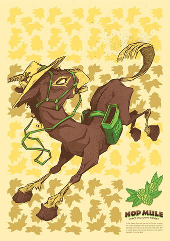 Hop,Mule,by,Mr,Hass,(A3,print),Art, Illustration, Print, Book, Beer, Digital, Design, Paper, Hop, Mule