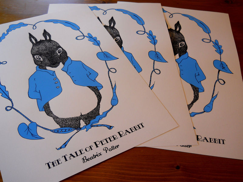 Peter Rabbit (Beatrix Potter Book Cover by Tasha Whittle) A2 Screen-Print - product images  of