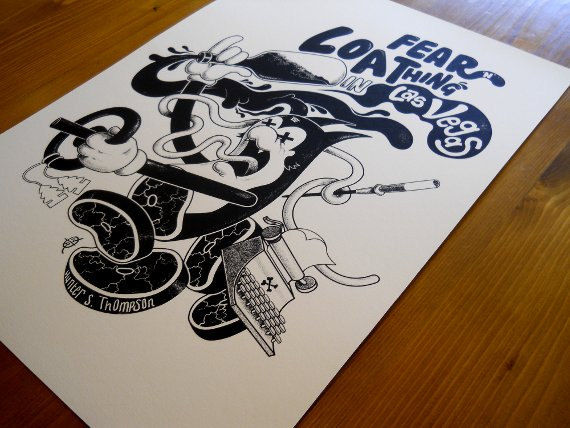 Fear N Loathing In Las Vegas (Book Cover by Trou) A2 Screen-Print - product images  of