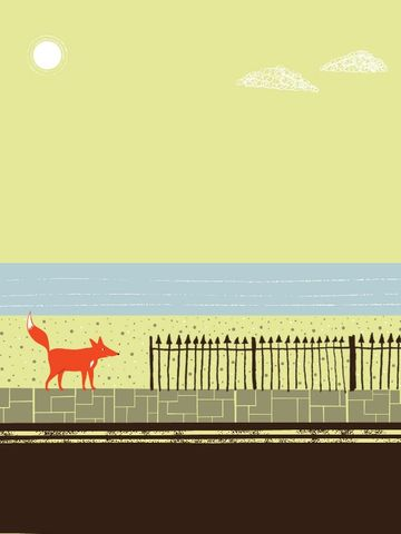 A,Foxes,Tail,7,by,Nicholas,Saunders,(5,Layer,Screen,Print),Nick, Nicholas, Saunders, Artist, Illustrator, Foxes, Tail, Allotment, Series, Screen, Print, Illustration, Art, Shop, Sale, Manchester, Column, Arts, Agency, Birmingham, London