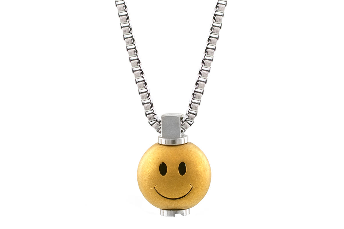 Big Smiley Matte Gold Pendant  - product image